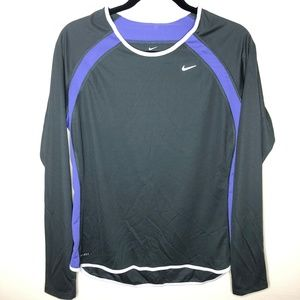 Nike Dri-Fit Grey & Purple Long Sleeve Workout Top